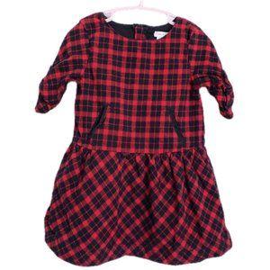 Red & Black Plaid Flannel Long Sleeve Dress 2 yrs